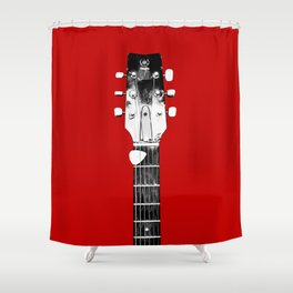 Guitar - Head, Red Background Shower Curtain