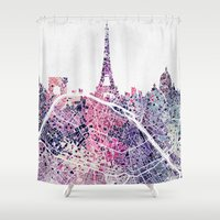 paris map Shower Curtains featuring Paris Skyline + Map #1 by Map Map Maps