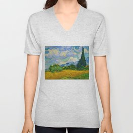 Wheat Field with Cypresses Vincent van Gogh Oil on canvas 1889 Unisex V-Neck