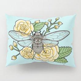Cicada with Roses - Blue Pillow Sham