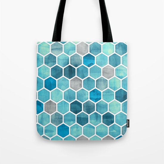 Blue Ink - watercolor hexagon pattern Tote Bag