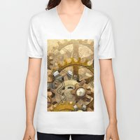 steampunk V-neck T-shirts featuring steampunk by Ancello