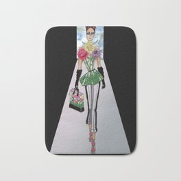 FLORA CATWALK COUTURE ILLUSTRATION BY JAMES THOMAS RYAN Bath Mat