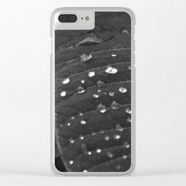 Shining Rain drops on a poinsettia leaf Clear iPhone Case