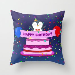 Penguin Surprise Birthday Throw Pillow