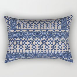 layout with geometric florals in blue Rectangular Pillow