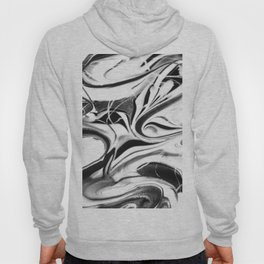 Black and white swirl - Abstract, black and white swirly, paint mix texture Hoody