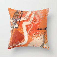 Ignite: a fiery and loud abstract piece in reds, orange, and plum Throw Pillow