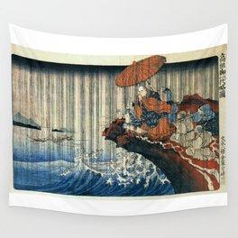 Ukiyo-e, Utagawa Kuniyoshi, Priest Nichiren praying under the storm Wall Tapestry