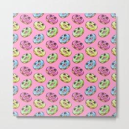 Donut Fun! Frosted Donuts Cartoon Pattern Metal Print