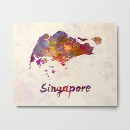 Singapore in watercolor Metal Print