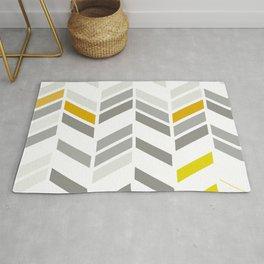 Deconstructed Chevron A – Gray / Yellow / Orange Pattern Print Rug