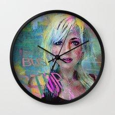 bus stop girl  Wall Clock