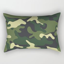 Army Green Camouflage Camo Pattern Rectangular Pillow