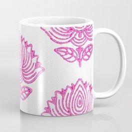 Pink Indian Woodblock Lotus Pattern Coffee Mug