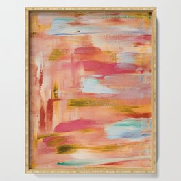 Champagne laughter: minimal, acrylic abstract painting in blush pink, amber & gold / Variation Five Serving Tray