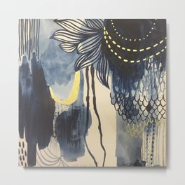 Indigo Mood with Gold Original Painting by Rachael Rice Metal Print