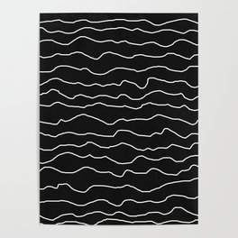 Black with White Squiggly Lines Poster