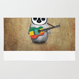 Baby Penguin Playing Ethiopian Flag Acoustic Guitar Rug