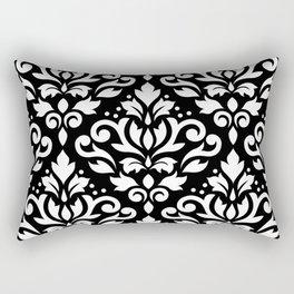 Scroll Damask Large Pattern White on Black Rectangular Pillow