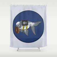 greg guillemin Shower Curtains featuring Goldfish Greg Lestrade by WhoGroovesOn