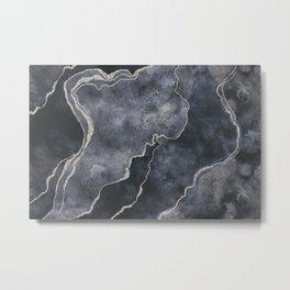 Elegant Grey Gemstone Glamour Mineral Marble Metal Print