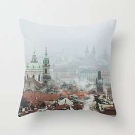 Cold Mornings over Prague Throw Pillow