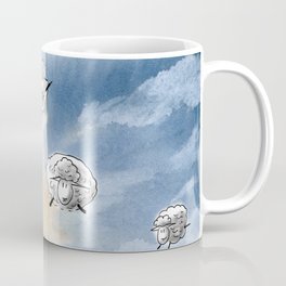 Digital Sheep in a Watercolor Sky Coffee Mug