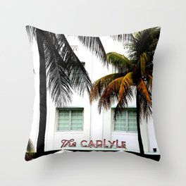 Scenes from Miami Beach The Carlyle Hotel Throw Pillow