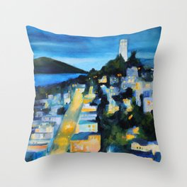 Coit Tower San Francisco at Night Throw Pillow
