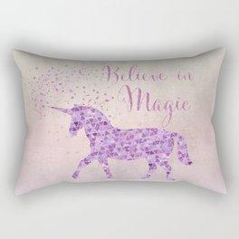 Pink and Purple Glamour Unicorn Believe in Magic Rectangular Pillow