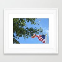american flag Framed Art Prints featuring American Flag  by KCavender Designs