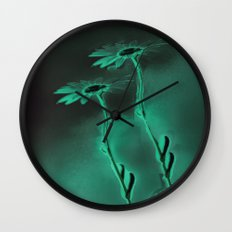 two green daisies Wall Clock