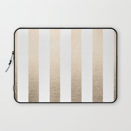 Simply Vertical Stripes in White Gold Sands Laptop Sleeve