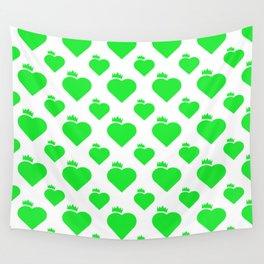 Crown Heart Pattern Green Wall Tapestry