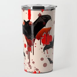 FLYING VAMPIRE BLACK BATS & HALLOWEEN BLOODY ART Travel Mug