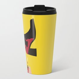 Black & Red Flame Boot on Yellow Background Travel Mug