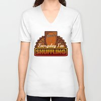 magic the gathering V-neck T-shirts featuring Everyday I'm Shuffling (No Dice Version)  |  Magic The Gathering by Silvio Ledbetter