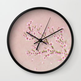 Pink Cherry Blossom Branch Sakura Wall Clock