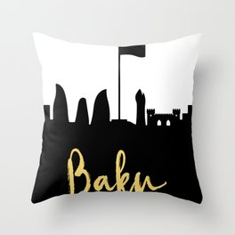 BAKU AZERBAIJAN DESIGNER SILHOUETTE SKYLINE ART Throw Pillow