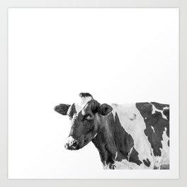 Cow Photography Animal Art | Minimalism black and white | black-and-white | Peek-a-boo Art Print