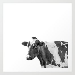 Cow Photography Animal Art | Minimalism black and white | black-and-white | Peek-a-boo Art Print