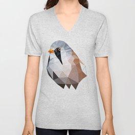 Bearded reedling Geometric bird art Unisex V-Neck