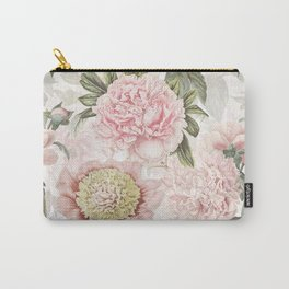 Vintage & Shabby Chic - Antique Pink Peony Flowers Garden Carry-All Pouch