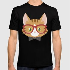 Orange Tabby Hipster Cat MEDIUM Black Mens Fitted Tee