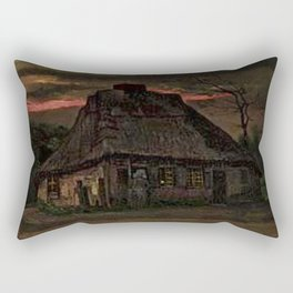 Cottage at Nightfall (with Pink Sunset) by Vincent van Gogh Rectangular Pillow