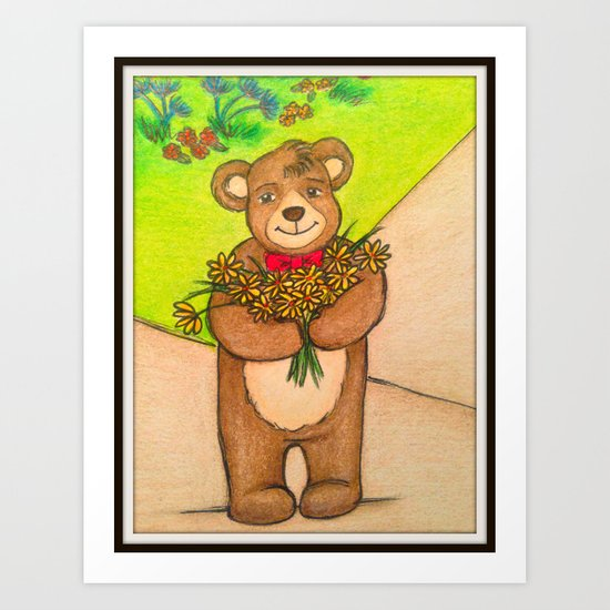 FLOWERS FOR YOU - Adorable Little Teddy Bear Flowers Floral Cute Colorful Original Illustration Art Print