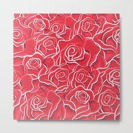 Million roses - Vintage romantic red roses hand drawn illustration pattern Metal Print