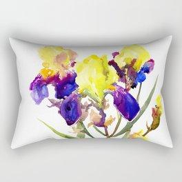 Garden Irises Floral Artwork Yellow Purple Blue Floral design Rectangular Pillow
