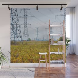 Landscape with power lines Wall Mural